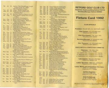 The fixture list for the 1992 season